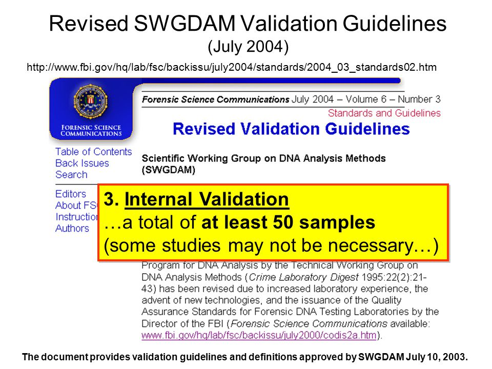 Revised SWGDAM Validation Guidelines (July 2004)