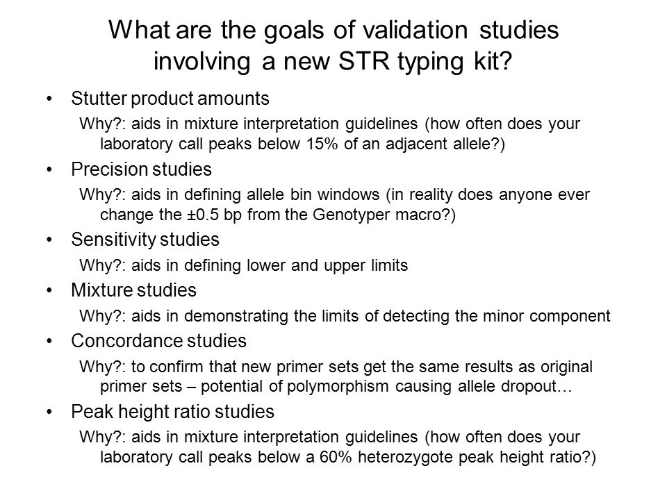 What are the goals of validation studies involving a new STR typing kit