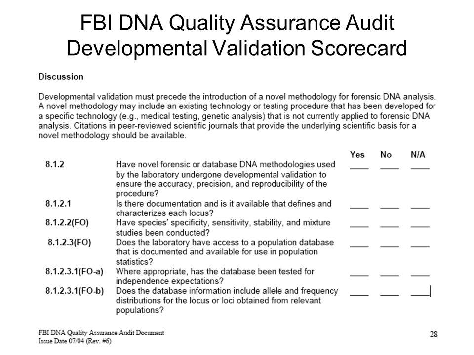 FBI DNA Quality Assurance Audit Developmental Validation Scorecard