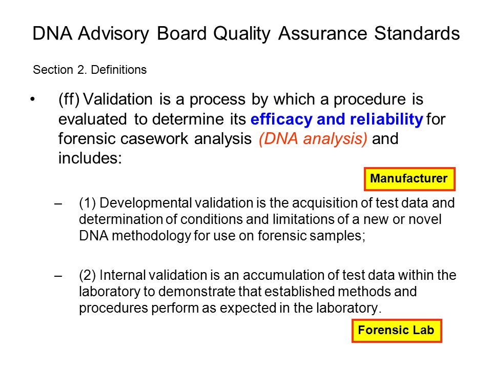 DNA Advisory Board Quality Assurance Standards