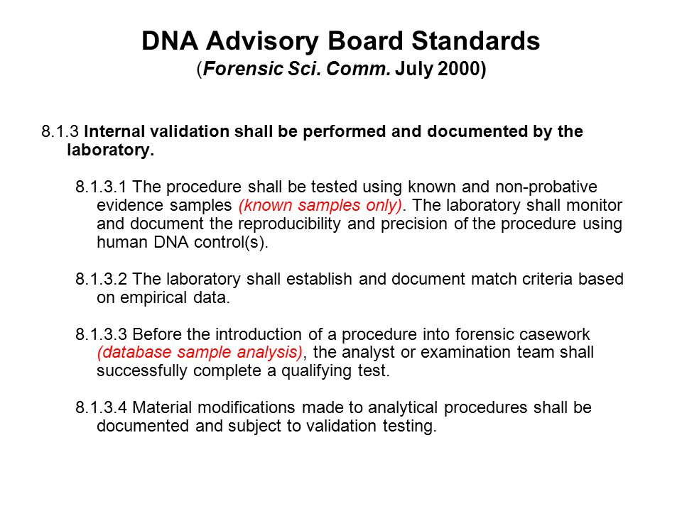 DNA Advisory Board Standards (Forensic Sci. Comm. July 2000)