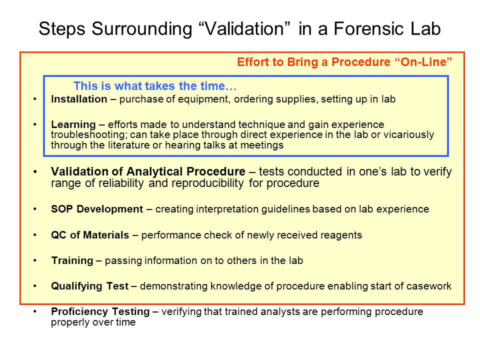 Steps Surrounding Validation in a Forensic Lab