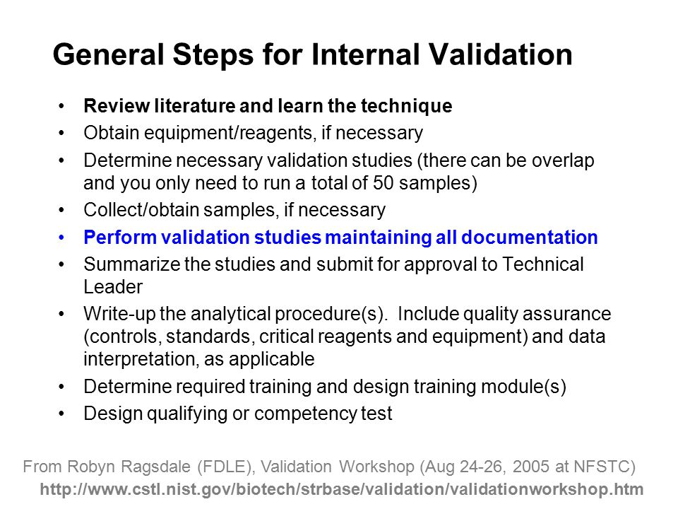 General Steps for Internal Validation