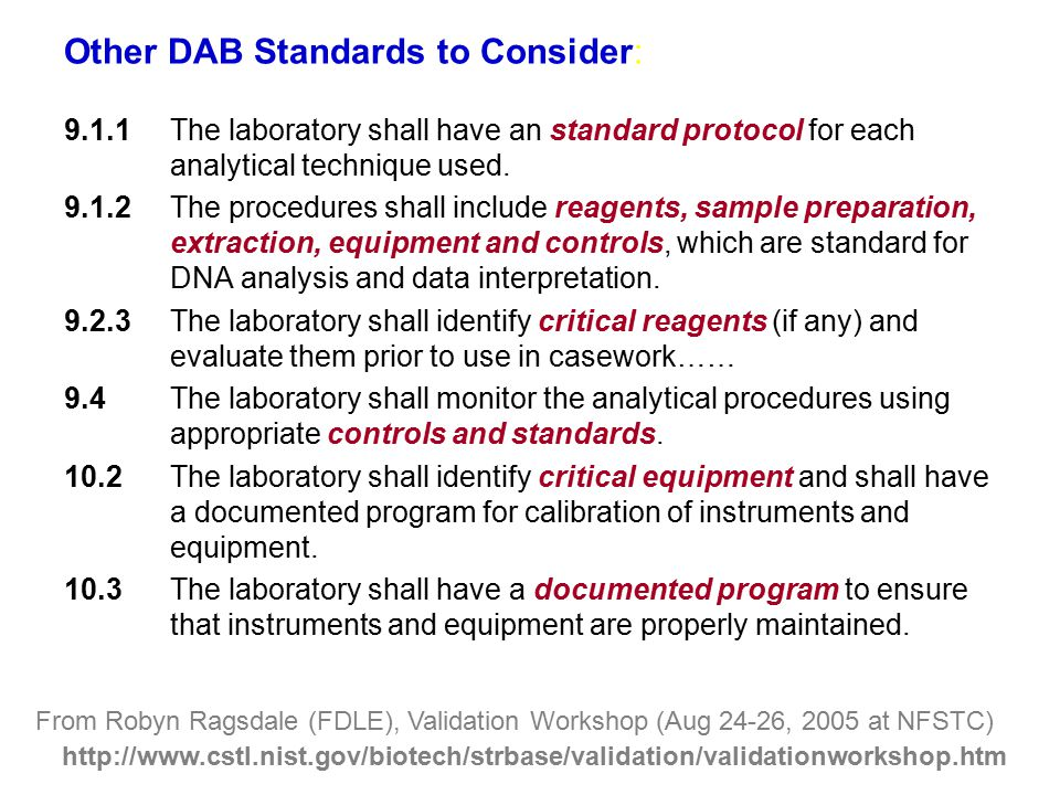 Other DAB Standards to Consider: