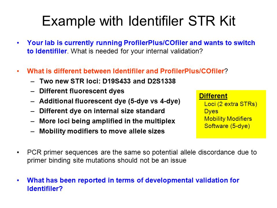 Example with Identifiler STR Kit