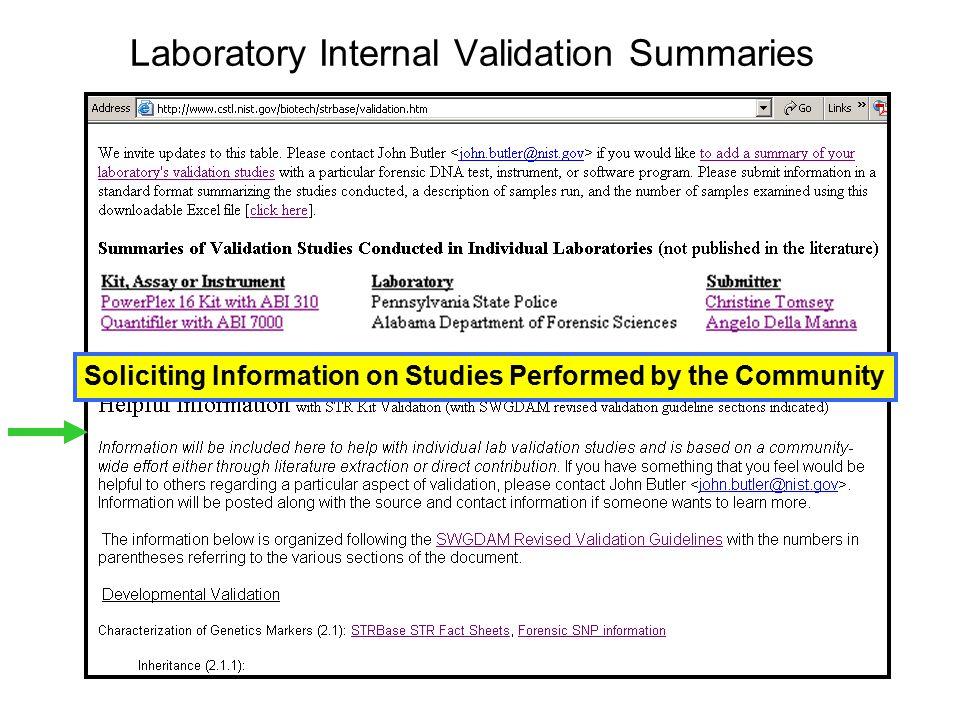 Laboratory Internal Validation Summaries