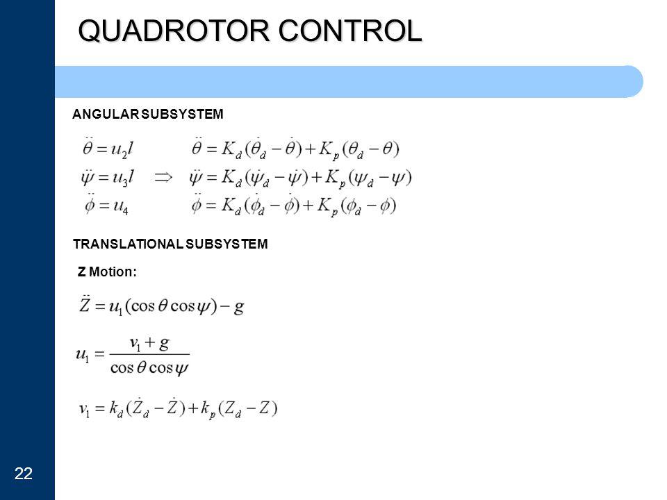 QUADROTOR CONTROL 22 ANGULAR SUBSYSTEM TRANSLATIONAL SUBSYSTEM