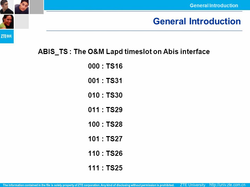 General Introduction ABIS_TS : The O&M Lapd timeslot on Abis interface