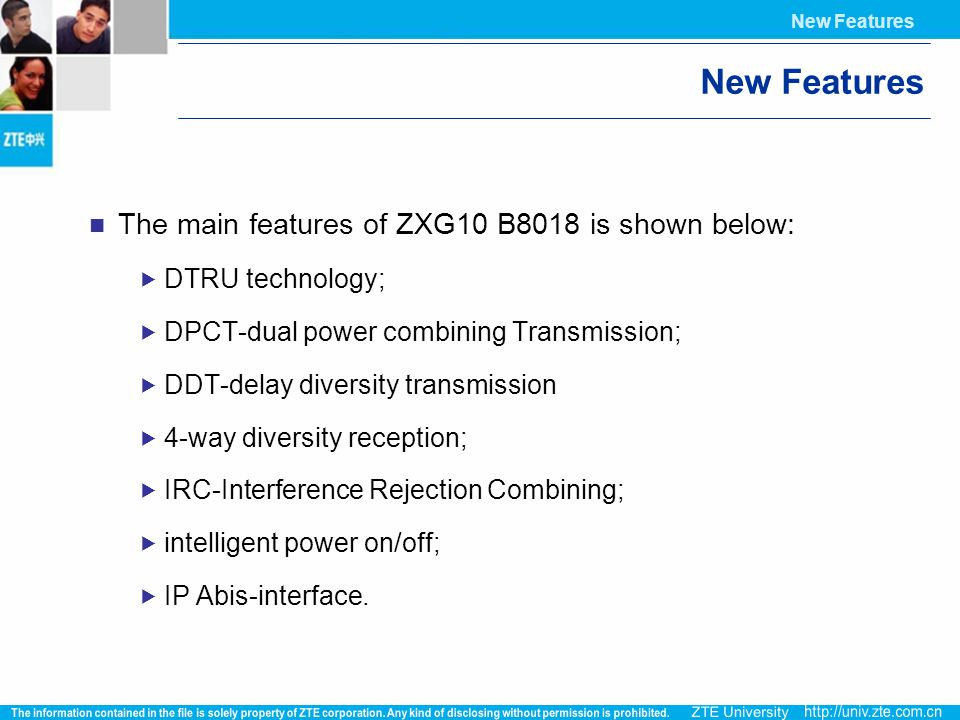 New Features The main features of ZXG10 B8018 is shown below:
