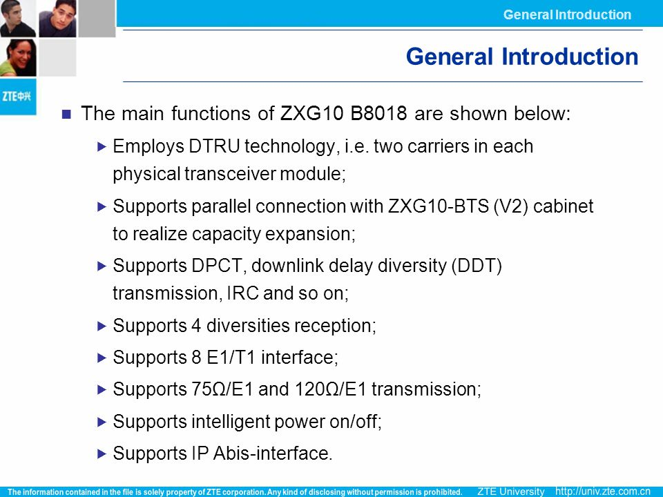 General Introduction General Introduction. The main functions of ZXG10 B8018 are shown below: