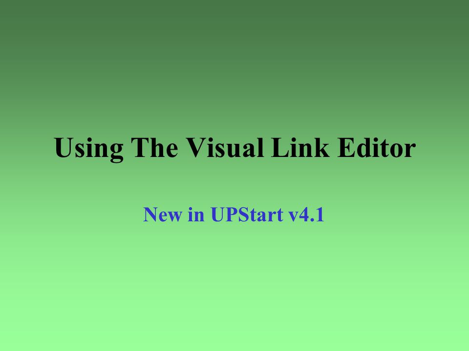 Using The Visual Link Editor
