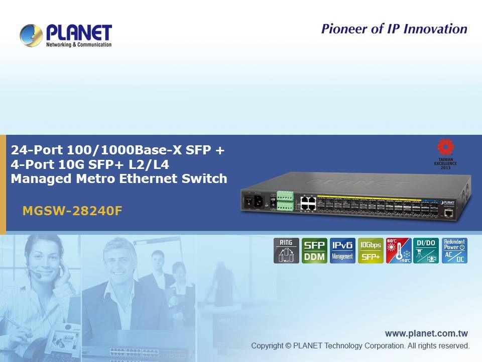 24-Port 100/1000Base-X SFP + 4-Port 10G SFP+ L2/L4 Managed Metro Ethernet Switch