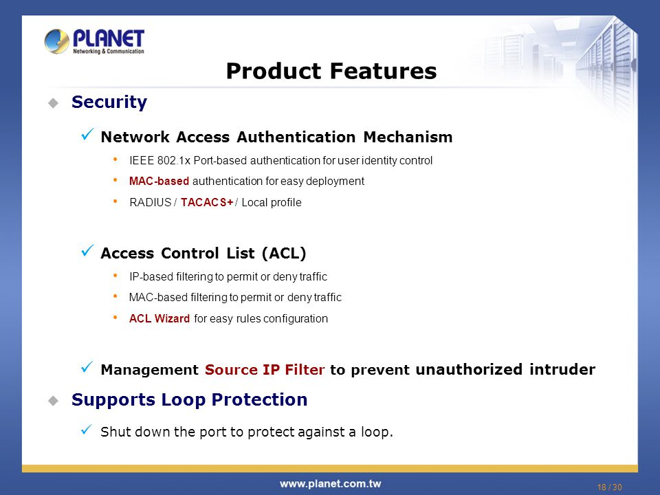 Product Features Security Supports Loop Protection