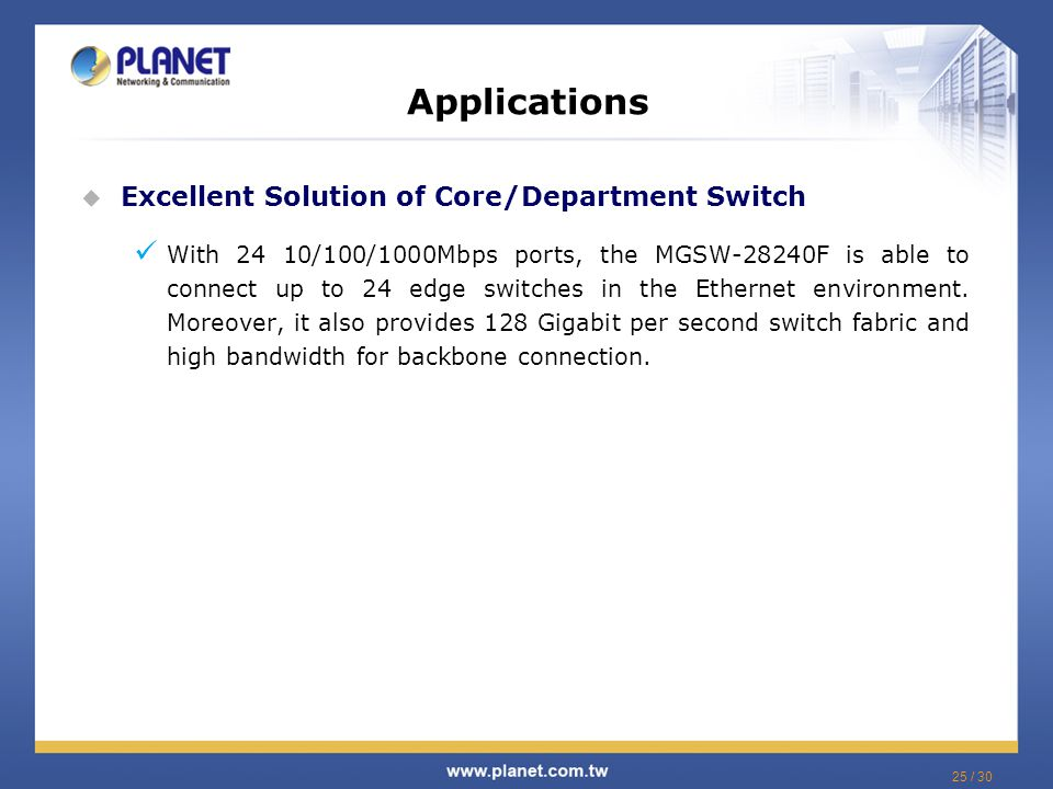 Applications Excellent Solution of Core/Department Switch