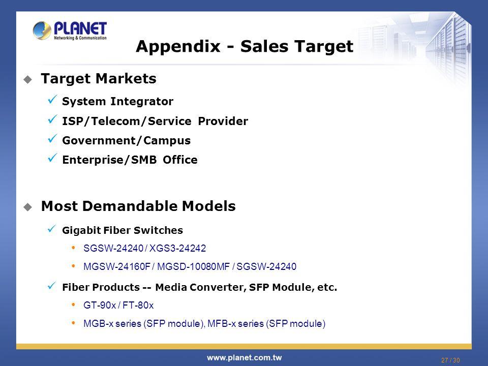Appendix - Sales Target