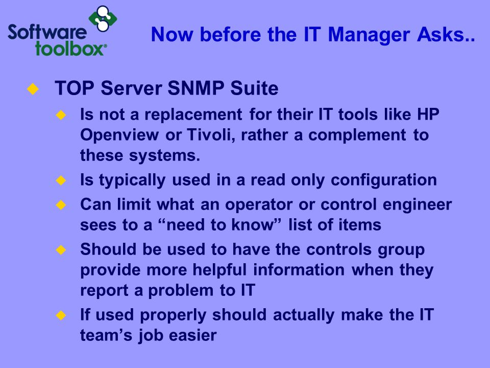 What Tools are Needed TOP Server SNMP Suite