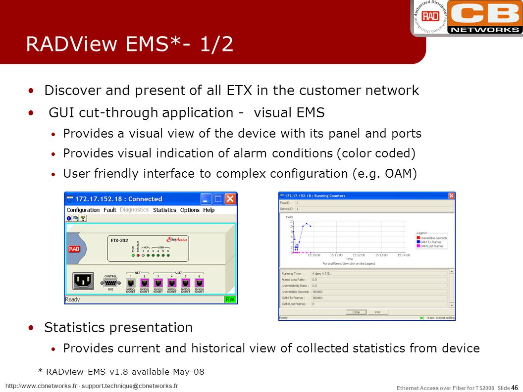 * RADview-EMS v1.8 available May-08