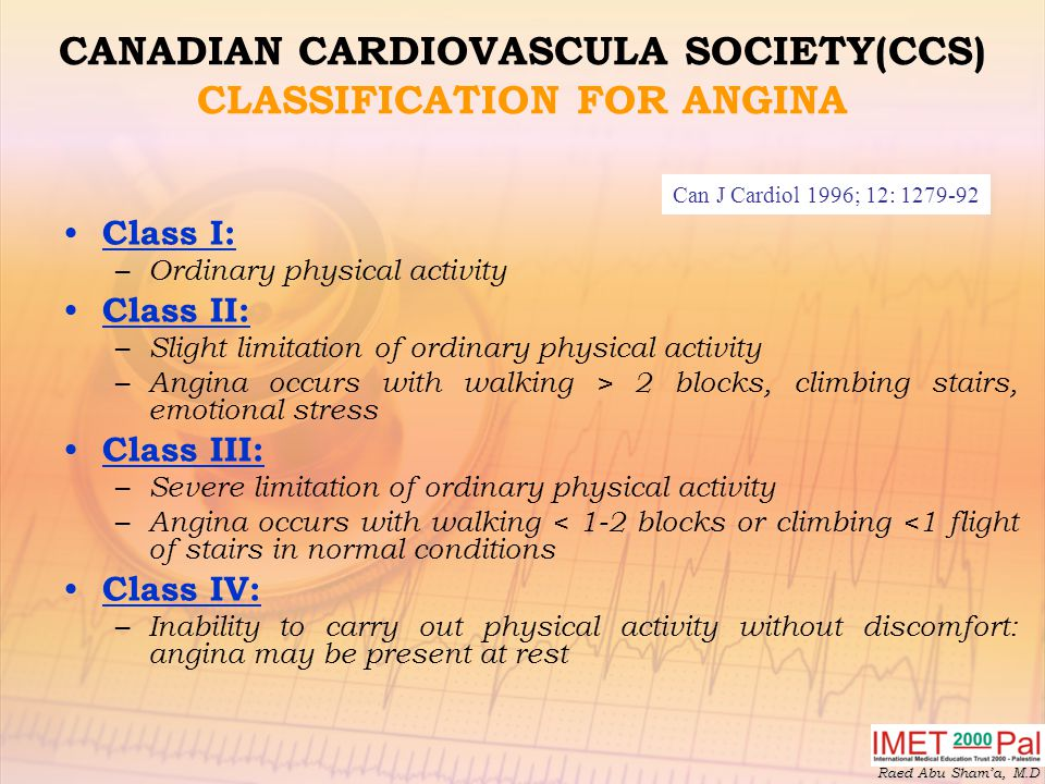 CANADIAN CARDIOVASCULA SOCIETY(CCS) CLASSIFICATION FOR ANGINA