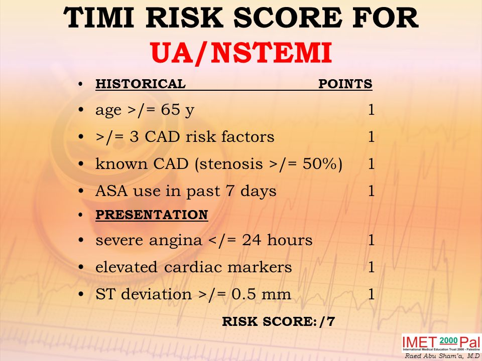 TIMI RISK SCORE FOR UA/NSTEMI