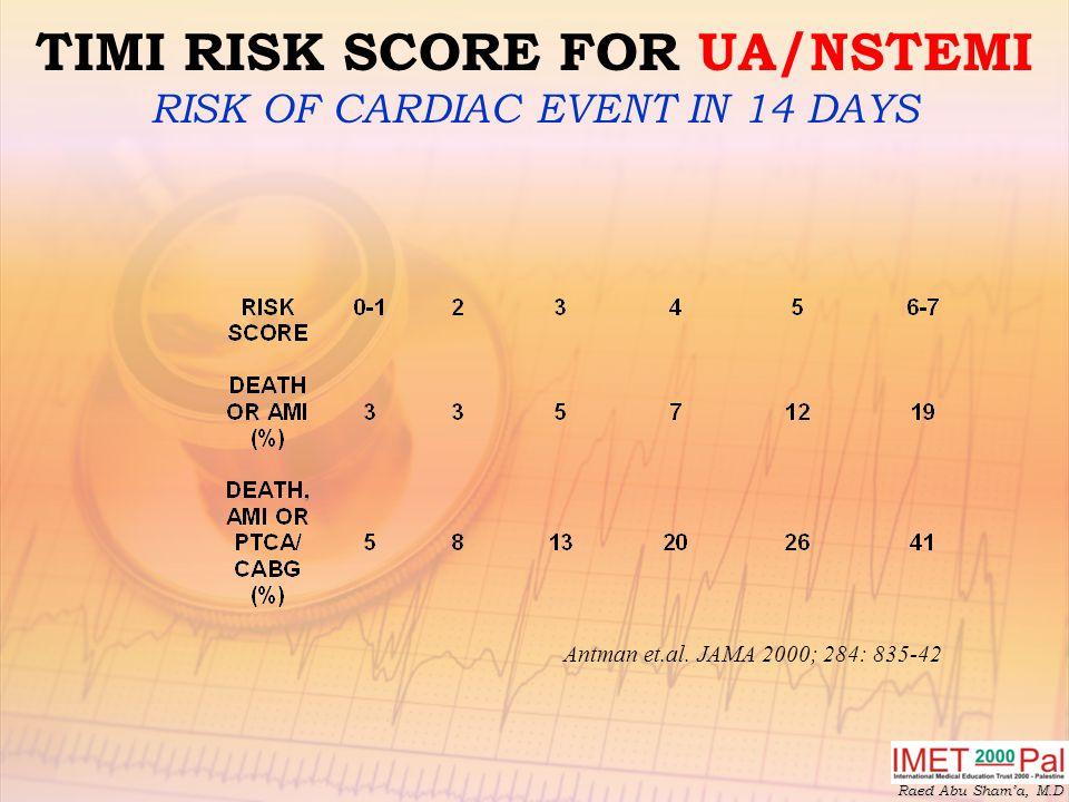 TIMI RISK SCORE FOR UA/NSTEMI RISK OF CARDIAC EVENT IN 14 DAYS