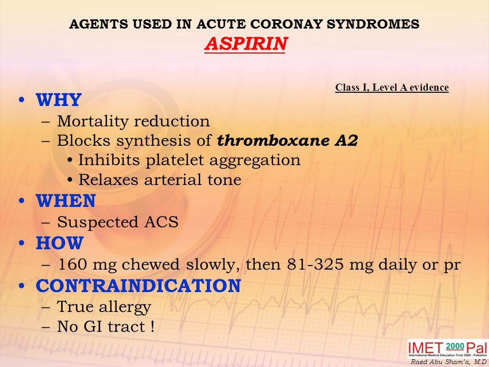 AGENTS USED IN ACUTE CORONAY SYNDROMES ASPIRIN