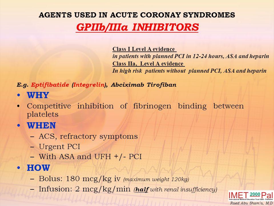 AGENTS USED IN ACUTE CORONAY SYNDROMES GPIIb/IIIa INHIBITORS