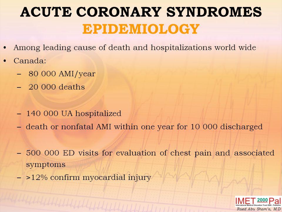 ACUTE CORONARY SYNDROMES EPIDEMIOLOGY