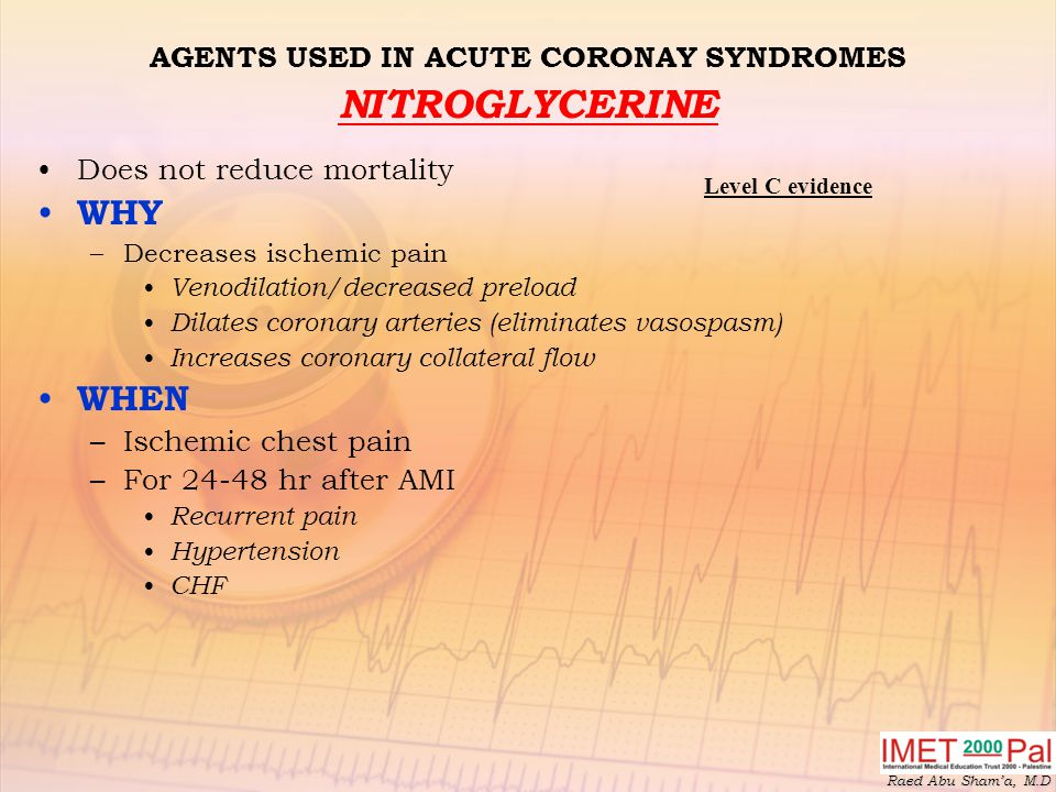 AGENTS USED IN ACUTE CORONAY SYNDROMES NITROGLYCERINE