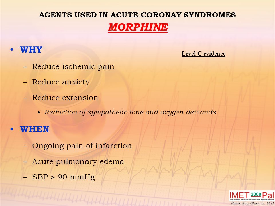 AGENTS USED IN ACUTE CORONAY SYNDROMES MORPHINE