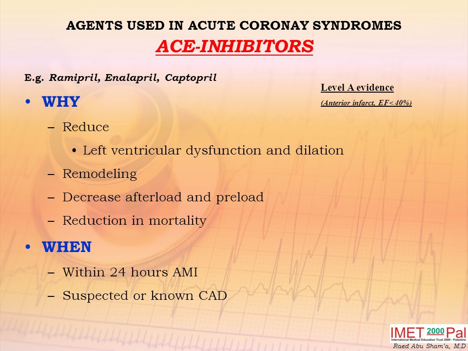AGENTS USED IN ACUTE CORONAY SYNDROMES ACE-INHIBITORS