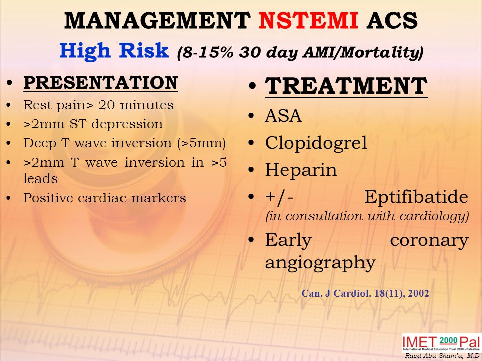 MANAGEMENT NSTEMI ACS High Risk (8-15% 30 day AMI/Mortality)