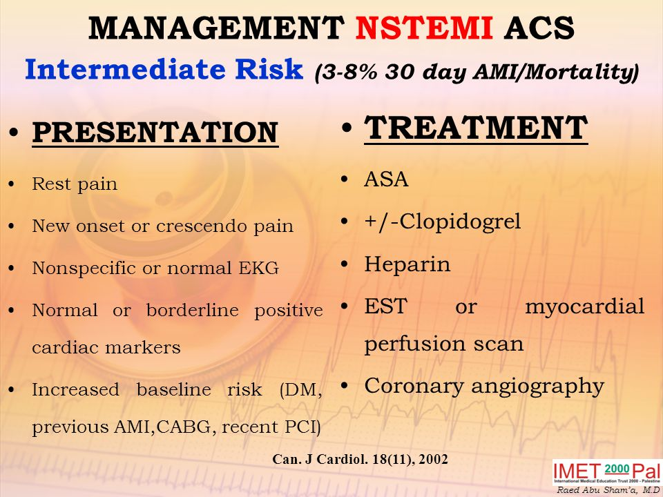 MANAGEMENT NSTEMI ACS Intermediate Risk (3-8% 30 day AMI/Mortality)