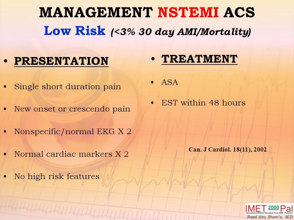 MANAGEMENT NSTEMI ACS Low Risk (<3% 30 day AMI/Mortality)