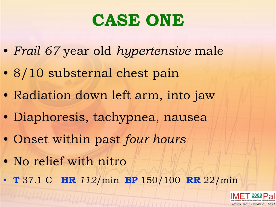CASE ONE Frail 67 year old hypertensive male