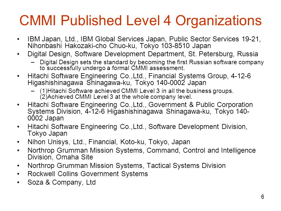 CMMI Published Level 4 Organizations