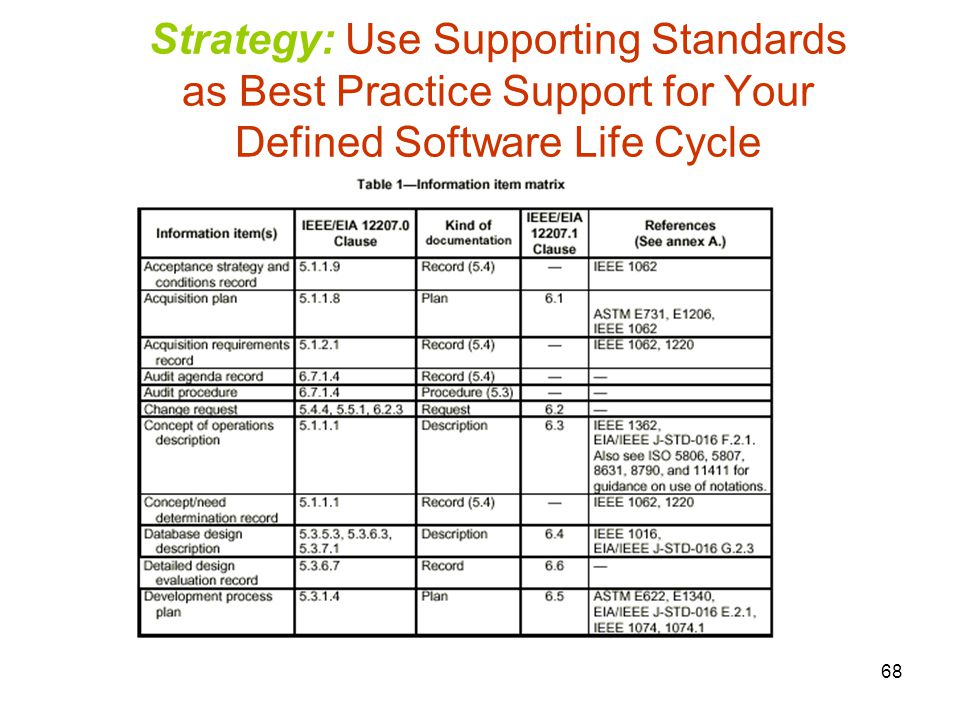 Strategy: Use Supporting Standards as Best Practice Support for Your Defined Software Life Cycle