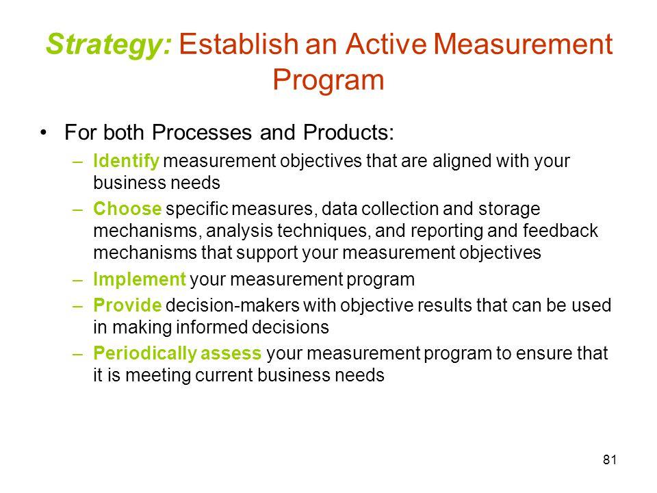 Strategy: Establish an Active Measurement Program