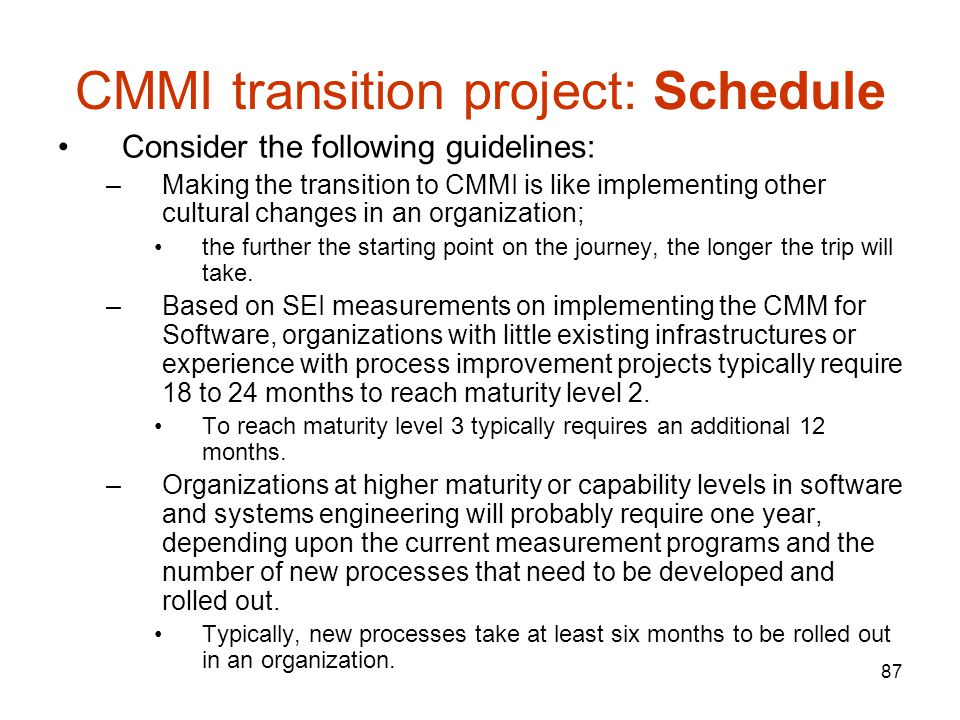 CMMI transition project: Schedule