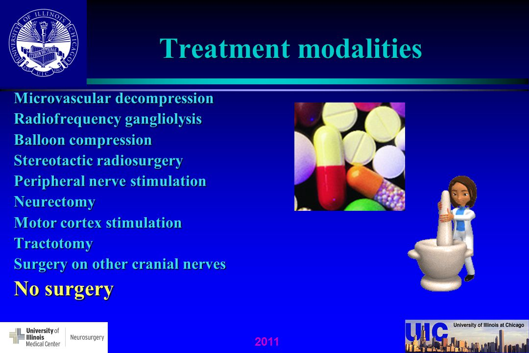Treatment modalities No surgery Microvascular decompression