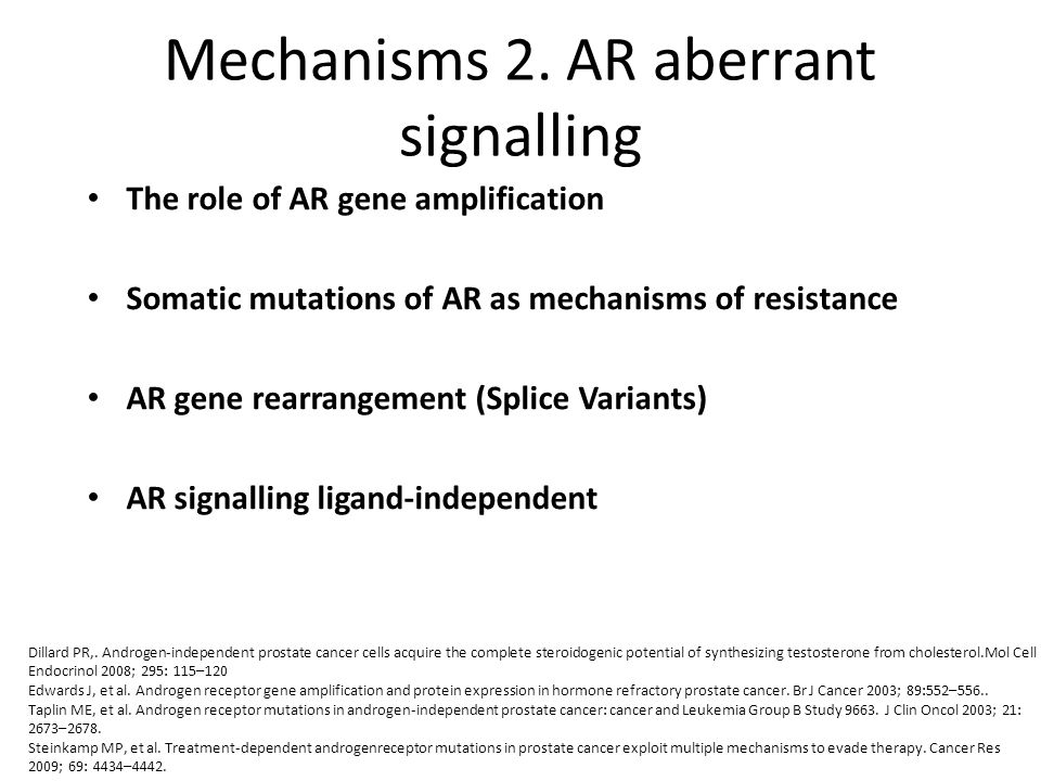 Mechanisms 2. AR aberrant signalling
