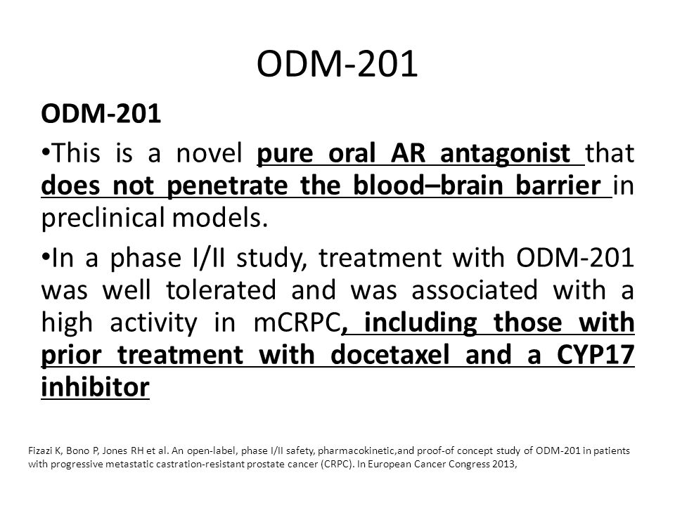 ODM-201 ODM-201. This is a novel pure oral AR antagonist that does not penetrate the blood–brain barrier in preclinical models.
