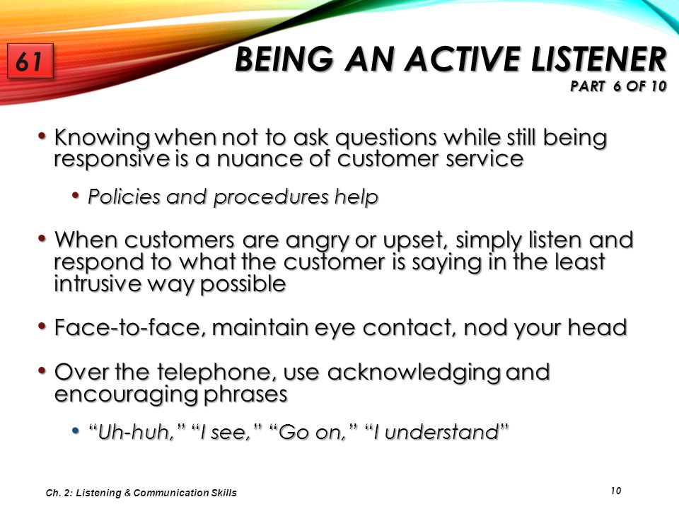 Being an Active Listener Part 6 of 10