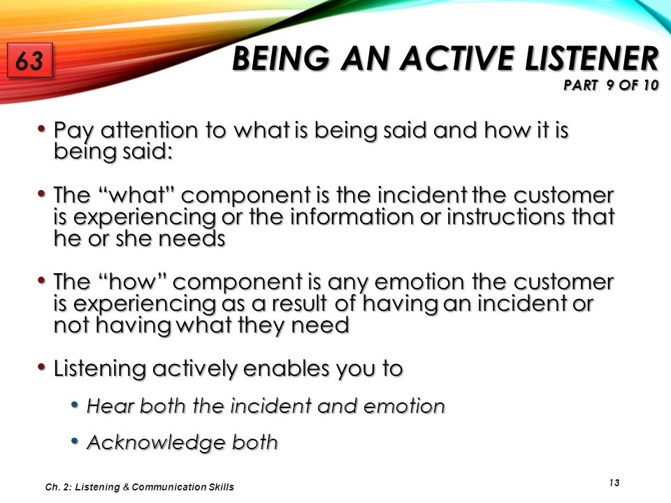 Being an Active Listener Part 9 of 10