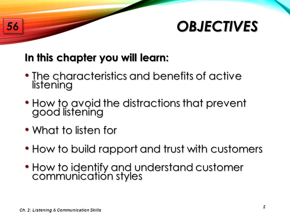 Objectives 56 In this chapter you will learn: