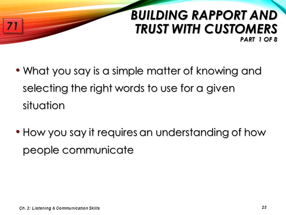 Building Rapport and Trust with Customers Part 1 of 8