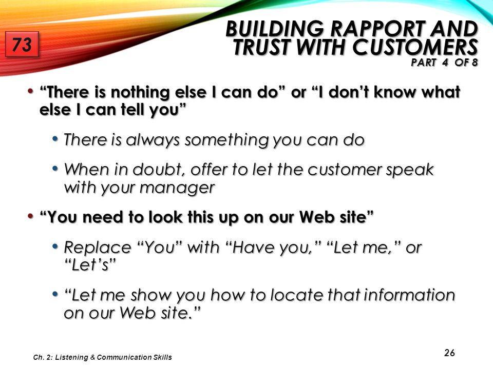 Building Rapport and Trust with Customers Part 4 of 8