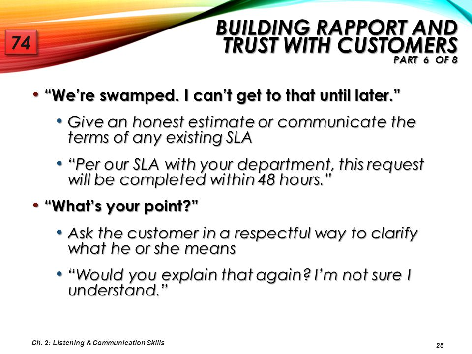 Building Rapport and Trust with Customers Part 6 of 8