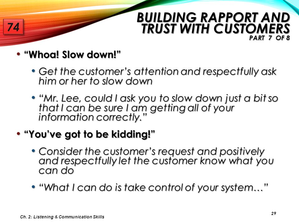 Building Rapport and Trust with Customers Part 7 of 8