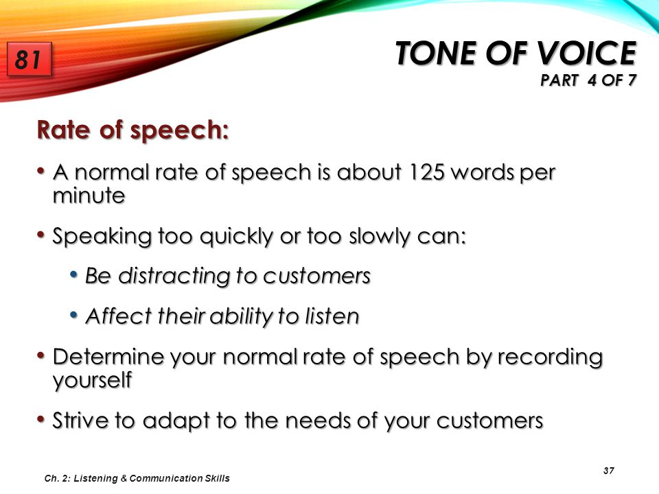 Tone of voice Part 4 of 7 81 Rate of speech: