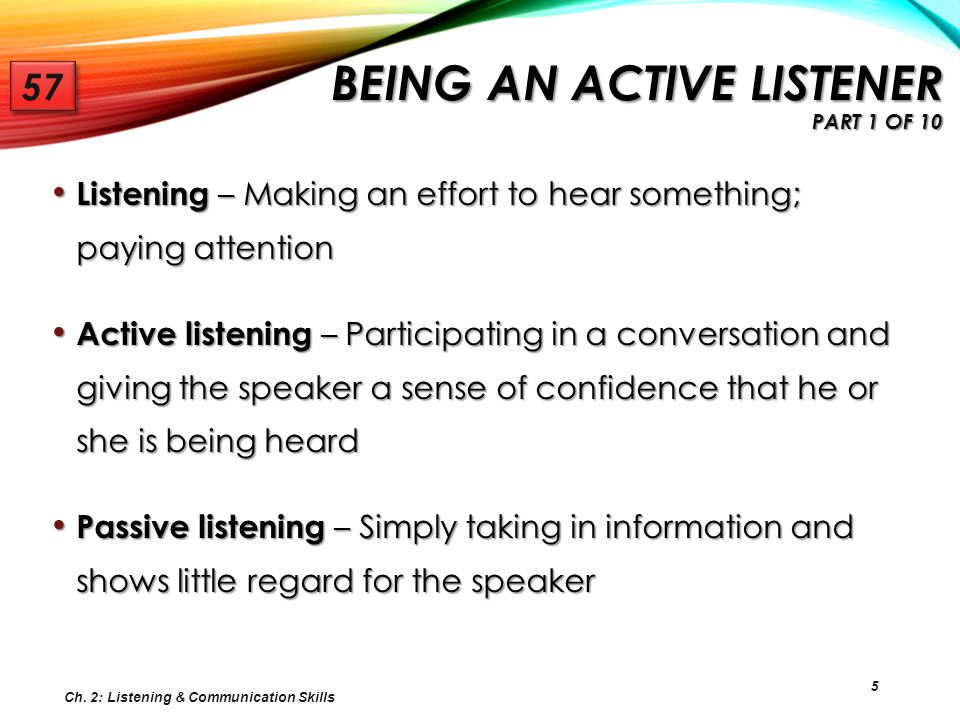Being an Active Listener Part 1 of 10